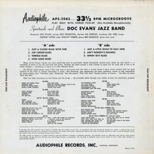 Doc Evans Audiophile LP Spirituals and Blues